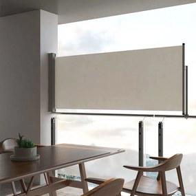 vidaXL Zaťahovacia bočná markíza na terasu krémová 100 x 300 cm