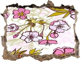 Nálepka 3D díra na zeď Květy višně WallHole-95x64-kamien-63762757