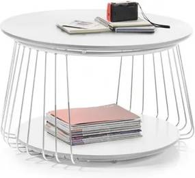 Konferenčný stolík Selvan - 70x42x70 (biela)