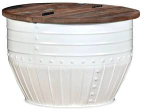 vidaXL Konferenčný stolík v tvare sudu, masívne recyklované drevo, biely