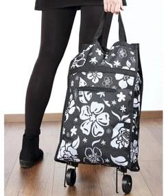 Nákupná taška na kolieskach Kytky