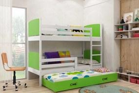 Poschodová posteľ s prístelkou TAMI 3 - 160x80cm - Biela - Zelená