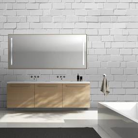 Fototapeta Bimago - White brick wall - retro style + lepidlo zadarmo 400x309 cm