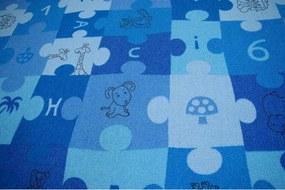 Detský koberec PUZZLE modrý - 100x100 cm