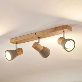 LED svetlo Filiz z dreva a betónu 3-plameňové dlhé