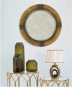 Biela stolová lampa s konštrukciou v zlatej farbe Mauro Ferretti Glam Oval