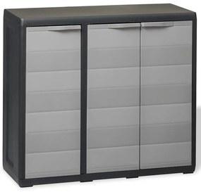 Záhradná skladovacia skrinka s 2 policami, čierna a sivá