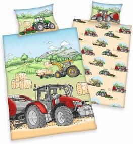 HERDING FLANELOVÉ Obliečky do postieľky Traktor BIO Bio Bavlna Flanel, 100/135, 40/60 cm