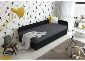 Čalúnená posteľ VALESKA 90x200, čierna + šedá