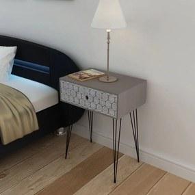 vidaXL Nočný stolík s 1 zásuvkou, obdĺžnikový, sivý
