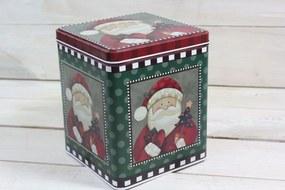 Plechová krabica - vianočný motív 2. (13,5x16x13,5 cm)