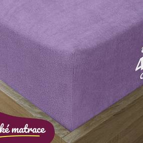 Goldea plachta froté exclusive pre vysoké matrace - fialová 90 x 200 cm