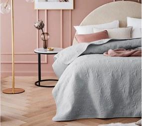 DomTextilu Štýlový svetlo sivý prešívaný prehoz na posteľ 240 x 260 cm 40286