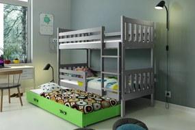 Poschodová posteľ s prístelkou CARINO 3 - 190x80cm - Grafitová - Zelená