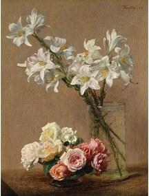 Reprodukcia obrazu Henri Fantin-Latour - Roses and Lilies, 45 × 60 cm