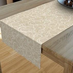 Goldea dekoračný behúň na stôl loneta - vzor biele ornamenty na režnom 20x160 cm