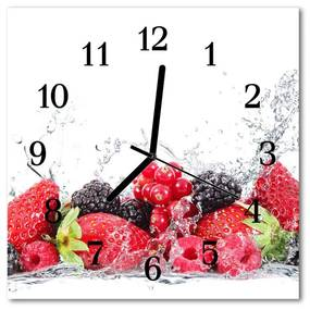 Sklenené hodiny štvorcové Ovocie 30x30 cm