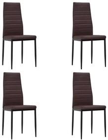 Hnedé kuchynské stoličky s úzkymi líniami, 4 ks