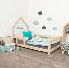 Drevená detská posteľ domček s ľavou bočnicou Benlemi Poppi, 120 x 200 cm