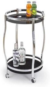 HALMAR Bar-8 servírovací stolík na kolieskach čierna / chróm