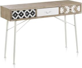 Konzolový stôl s čiernobielymi detailmi a troma zásuvkami Geese Rustico Geometric