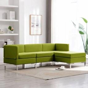 vidaXL 4-dielna sedacia súprava zelená látková