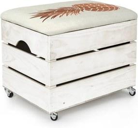 Biely úložný box so sedadlom Really Nice Things Pineapple, 50 × 35 cm
