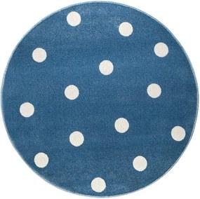 Modrý okrúhly koberec s bodkami KICOTI Blue Stars, 80 × 80 cm