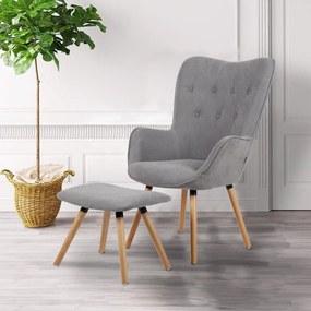 Relaxačné kreslo s taburetom Catini ROLFEN - sivá farba