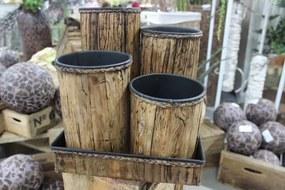Hnedé okrúhle plechové ratanové kvetináče 5-set