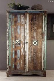 Masiv24 - OLDTIME Skriňa na oblečenie 198x118 cm, staré drevo