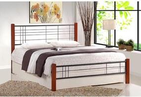 HALMAR Viera 120 kovová jednolôžková posteľ s roštom čerešňa antická / čierna