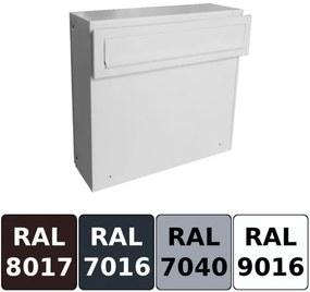 Lakovaná poštová schránka DLS-A-050 pre montáž na drevený plot či doskovú výplň bránky / Barva schránky:Bílá RAL 9016