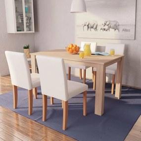 vidaXL Jedálenský stôl a stoličky, 5 ks, umelá koža, dubové drevo, krémové