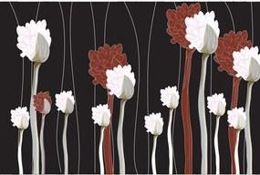 Dimex SK Fototapeta Maľované kvety v čiernom 3 rôzne rozmery XL - š-375 x v-250 cm