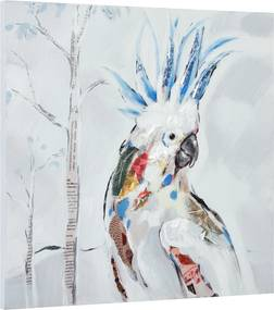 [art.work] Ručne maľovaný obraz - kakadu - plátno napnuté na ráme - 50x50x2,8 cm