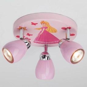 Ružové stropné LED svietidlo Princess 3-pl.