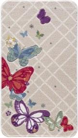 Vzorovaná béžová predložka do kúpeľne Confetti Butterfly, 80 × 140 cm