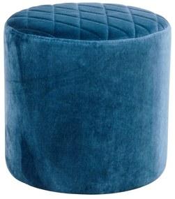 Modrý puf zo zamatu House Nordic Ejby, ø 34 cm