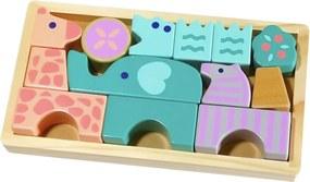 EcoToys Drevené kocky zvieratká 13 dielov, HJD931865