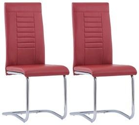 vidaXL Jedálenské stoličky, perová kostra 2 ks, červené, umelá koža