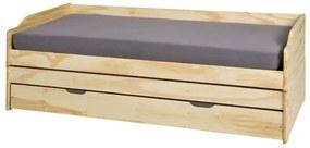 Sconto Posteľ s výsuvným lôžkom TRULA prírodná, 90x200 cm