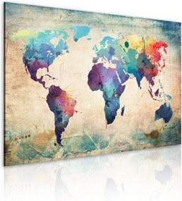 Obraz na plátne Bimago - Dúhová mapa 90x60 cm