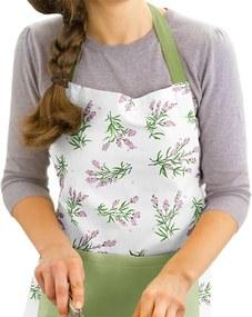 Kuchynská zástera SIMONA - vzor trsy levanduľou na bielom so zelenou
