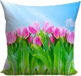 Vankúš Ružové tulipány (Veľkosť: 40 x 40 cm)