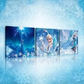 Obraz na plátne viacdielny - OB2576 - Ľadové kráľovstvo Elsa 75cm x 25cm - S13
