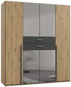 Sconto Šatníková skriňa DECLAN dub artisan/grafit, 180 cm, 4 zrkadlá