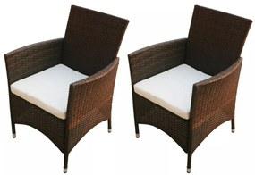 Záhradné stoličky 2 ks, hnedý polyratan