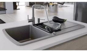 vidaXL Granitový kuchynský drez s dvomi vaničkami, sivý
