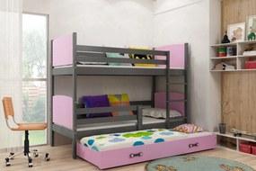 Poschodová posteľ s prístelkou TAMI 3 - 190x80cm - GRAFITOVÁ - RUŽOVÁ